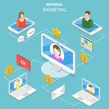 Referral marketing flat isometric vector concept. Royalty Free Stock Photo
