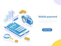 Mobile payment flat isometric vector concept. Flat isometric vector concept of online payment, shopping, receipt, money transfer, mobile wallet Stock Image