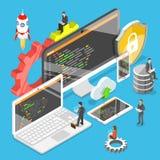 Software development flat isometric vector. Flat isometric vector concept of software development, teamwork, brainstorm stock illustration