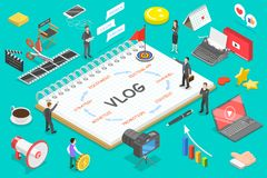 Flat isometric vector concept of video blog, vlog, creating online channel. Flat isometric vector concept of video blog, vlog, creating online channel, content stock illustration