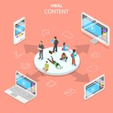 Viral content flat isometric vector concept. Stock Images