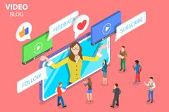 Flat isometric vector concept of vlog, video blog, online channel. Flat isometric vector concept of vlog, video blog, online channel, creating quality content vector illustration