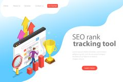 Flat isometric vector landing page template of seo rank tracking tool. stock illustration