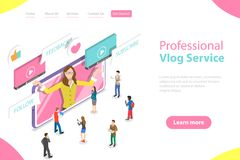 Flat isometric vector landing page template of vlog, video blog, online channel. Flat isometric vector landing page template of vlog, video blog, online channel vector illustration