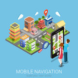 Flat isometric vector mobile navigation: GPS map city smartphone. Flat 3d isometric creative mobile navigation web infographics concept. Couple touching big Royalty Free Stock Photo