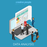 Flat isometric vector online data analysis web laptop screen Royalty Free Stock Images