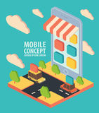 Flat isometric vector phone application concept Royalty Free Stock Photo