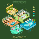 Flat isometric vector SPA center floors interior concept. Flat 3d isometric abstract spa salon center floor interior departments concept vector. Reception water Stock Images