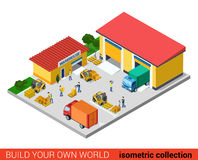 Flat isometric vector warehouse building transport loading box Royalty Free Stock Image