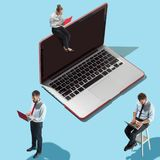Flat isometric view of businessmen and woman showing at laptop with empty screen. Flat isometric view of businessmen and women showing at laptop with empty royalty free stock photos