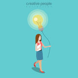 Flat isometric Woman balloon lamp vector. 3d ideas. Flat isometric Woman holding thread with balloon made of lamp vector illustration. 3d isometry business ideas Royalty Free Stock Images