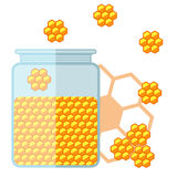 Flat jar of honey. Bank with honey. Vector illustration Royalty Free Stock Images