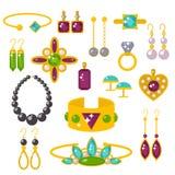 Flat jewelry stones vector illustration Stock Photography