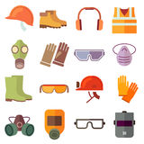 Flat job safety equipment vector icons set. Safety icon, helmet equipment, job industrial, safety headgear and protection boot illustration stock illustration