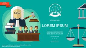 Flat Judicial System Template royalty free stock photos
