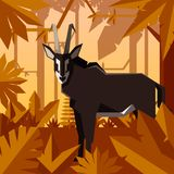 Flat jungle background with Sable Antelope. Vector image of the Flat geometric jungle background with Sable Antelope Royalty Free Stock Images