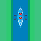 Flat kayak design with people Stock Image
