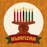 Flat Kinara Icon with Lighted Candles and Ribbon, Vector Illustration Stock Photos