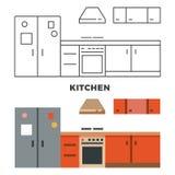 Flat kitchen concept isolated on white background royalty free illustration