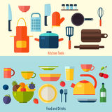 Flat kitchen and cooking background. C Royalty Free Stock Image
