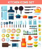 Flat kitchen and cooking icons. Stock Images
