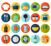Flat kitchen and cooking icons. Stock Image