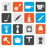 Flat Kitchen and household tools icons. Vector icon set Stock Photo