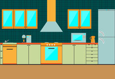 Flat kitchen interior cabinets. Accessories Royalty Free Stock Images