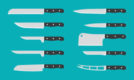 Flat kitchen knife set with signature names. Vector knives. Royalty Free Stock Photo