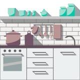 Flat kitchen room. White flat kitchen room. Vector illustration background Stock Photography