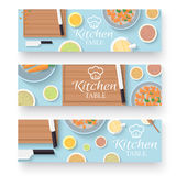 Flat kitchen table for cooking in house banners Royalty Free Stock Photography