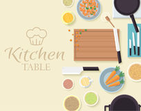 Flat kitchen table for cooking in house vector Royalty Free Stock Images