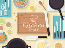 Flat kitchen table for cooking in house vector Stock Images