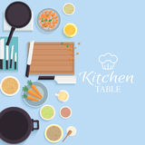 Flat kitchen table for cooking in house vector Stock Photos