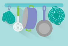 Flat kitchen utensils vector Stock Photos