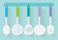 Flat kitchen utensils vector Stock Images