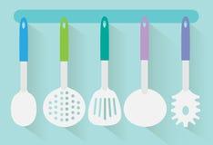 Flat kitchen utensils vector Stock Images