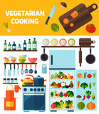 Flat kitchen and vegetarian cooking icons. Stock Photos
