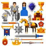 Flat Knight Icons Set Stock Photo