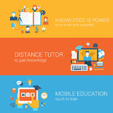 Flat knowledge is power, distance tutor mobile education concept Royalty Free Stock Photo