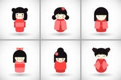 Flat kokeshi dolls set Stock Photos