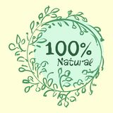 Flat label collection of 100 organic product and premium quality natural food badge elements. Isolated on white background. design. Flat label collection of 100 Royalty Free Stock Images