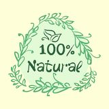 Flat label collection of 100 organic product and premium quality natural food badge elements. Isolated on white background. design. Flat label collection of 100 stock illustration