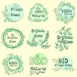 Flat label collection of 100 organic product and premium quality natural food badge elements. Isolated on white background. design. Flat label collection of 100 Stock Photos