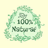 Flat label collection of 100 organic product and premium quality natural food badge elements. on white background. design. Flat label collection of 100 organic stock illustration