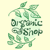 Flat label collection of 100 organic product  Stock Images