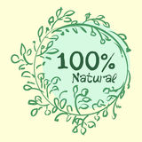 Flat label collection of 100 organic product and premium quality natural food badge elements.  Royalty Free Stock Photos