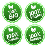 Flat label collection of 100% organic product. Royalty Free Stock Image