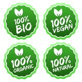 Flat label collection of 100% organic product and premium quality natural food. Eps10. Flat label collection of 100% organic product and premium quality natural Royalty Free Stock Photography