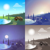 Flat lake house landscape scene set Royalty Free Stock Images